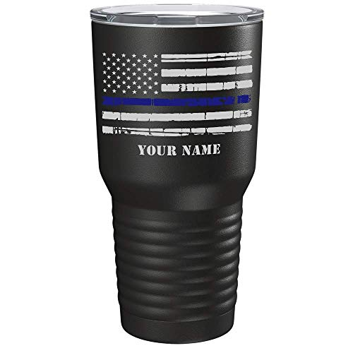 Personalized Thin Blue Line Distressed Flag 30 oz Stainless Steel Police Tumbler