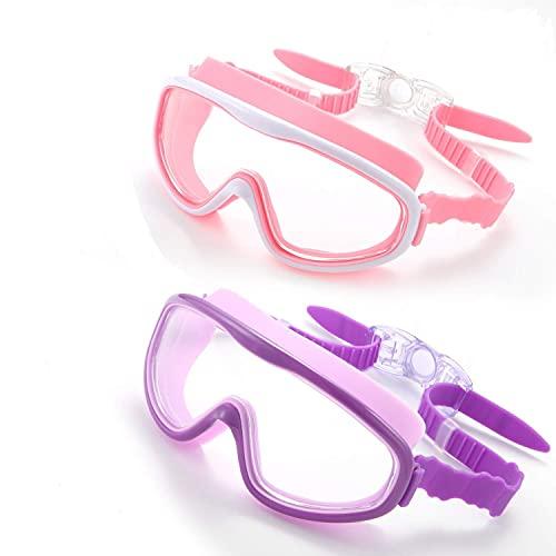 (2 unidades) gafas de natación para niños, gafas de natación sin fugas, protección UV antivaho