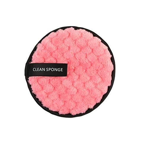 Démaquillage Éponge Flutter, Fulltime démaquillant serviette chiffon de nettoyage du visage pad en peluche bouffée paresseux double-face microfibre démaquillant puff (Rose)