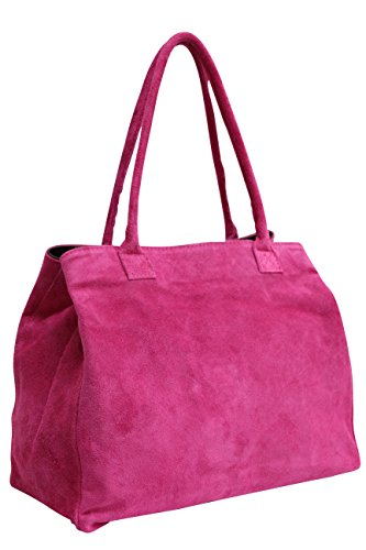AMBRA Moda Damen Wildleder Handtasche Schultertasche Shopper WL810, Fuchsia, XL