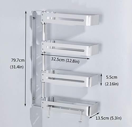 Égouttoir 4-lagiges rotierendes Gestell, 79,7 cm (31,4 Zoll) Wandhalterung für Küchengewürze, Aufbewahrungsgestell für Bad/Schminktisch