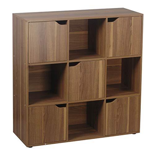 Brigros - Mobile Mensola Libreria con 9 cubi 5 Ante portaoggetti scaffale Design Classico da Terra portalibri CD Legno massello 90 x 90cm (Legno Naturale)