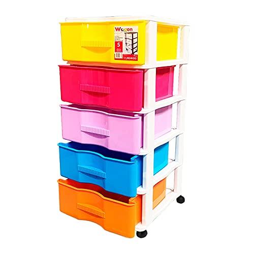 Acan Cajonera de Color Surtido, con 5 cajones, Wagon con Ruedas 83,1 x 37 x 39,3 cm. Contenedor de plástico para Folios Especial para Oficina u hogar. Utensilio de ordenación para Distintos ámbitos.