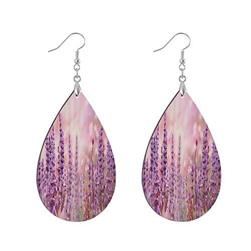 ADMustwin Wooden Earrings Lavender Flower Floral for Women Girls Silver Plated Copper Earrings Teardrop Earrings Lightweight Dangle Earrings Fashion Jewelry