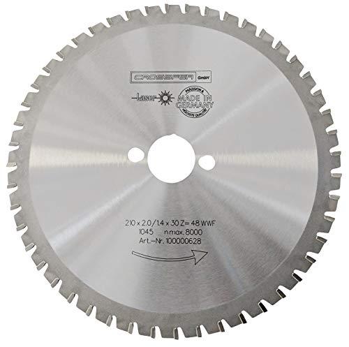 CROSSFER HM Kreissägeblatt 210 x 30 mm Z48 Multifunktionssägeblatt für Metall Kunststoff Spanplatten Laminat Hartmetall bestückt für Kreissägen