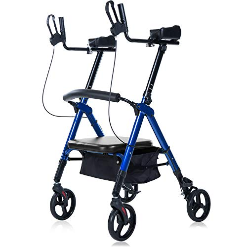 ELENKER Heavy Duty Upright Walker, Bariatric Stand Up Rollator Walker with Extra Wide Padded Seat & Backrest, Supports Up to 500 lbs, for Senior (Blue)