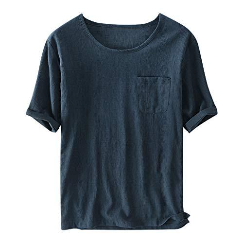 Baumwollshirt Dasongff Herren Leinenshirt Casual T-Shirt Weiche Rundhals Kurzarmshirt Basic Tee Lose Sommertop Hemd Männer Freizeit Shirt