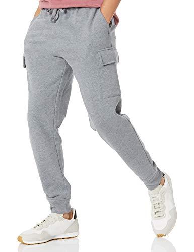 Amazon Essentials Cargo Fleece Jogger Sweatpant Pantaloni della Tuta, Grigio Chiaro Puntinato, L