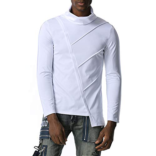 Camiseta de Manga Larga de Hombre Irregular Slim fit de los nuevos Hombres