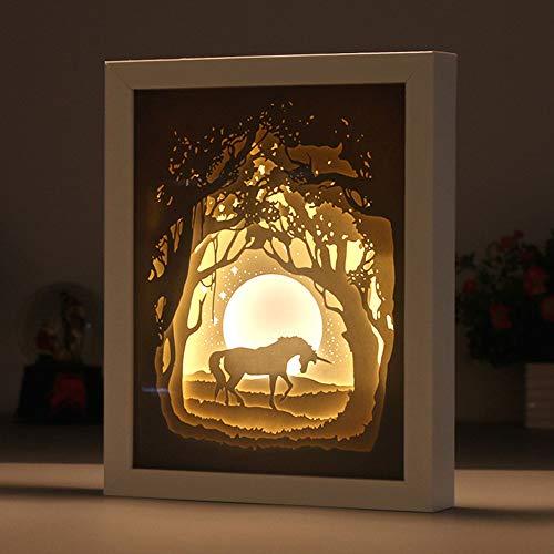 3D Optical Illusion LED Nachtlicht, Pferd Schnitzlampe aus Papier Schreibtisch Lampe Deko Lampe USB für Geschenke Halloween Valentinstag Kinder Awesome Geschenk