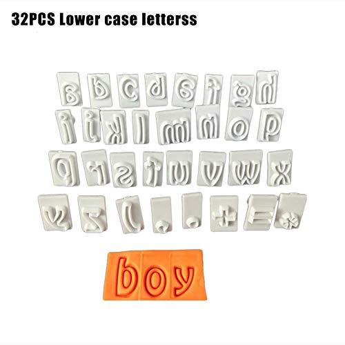 Cakevorm, alfabet, letter, koekjes, fondant, cake, koekjes, stempel, impress, embosser, bakvorm, 32 stuks