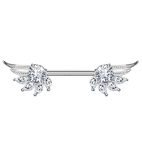 beyoutifulthings Brustwarzen-Piercing ZIRKONIA Engels-FLÜGEL Brust-Piercing Nippel-Piercing Edelstahl Silber Clear Stab 1,6mm 14mm