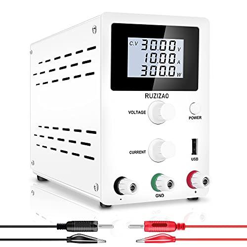 RUZIZAO SPS3010D - Fuente de alimentación para laboratorio (0-30 V, 0-10 A, regulable, estabilizada, pantalla digital con conector banana a pinza de cocodrilo), color blanco