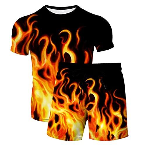 Camisetas con Estampado 3D para Hombre Pantalones Cortos de Manga Corta y de Natación Bañadores Pantalones Cortos de Playa de Verano Pantalones Cortos(Naranja,XL)
