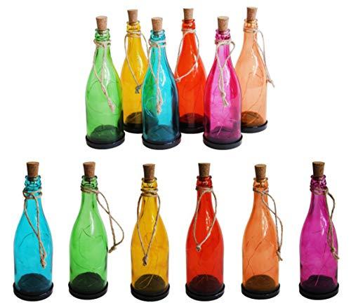 DRULINE 6er Set LED Solarflasche Solarlampe Solarbetrieben Kork Weinflasche Flasche Hängende Lampe für Outdoor Party Garten Innenhof Terrasse Spazierweg Dekoration 8 x 24cm Bunt