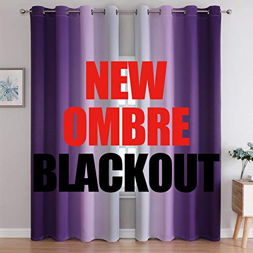G2000 Blackout Curtains & Drapes for Bedroom Living Room 84 Inches Long Purple and Greyish White Room Darkening Window Treatments Ombre Thermal Insulated Light Blocking Grommet Backdrop 2 Panels Set