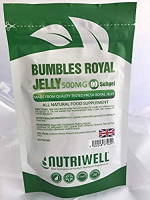 Bumbles TM Royal Gellee 500mg | Premium High Strength | 90 Capsules | Aid Anti-Ageing & Support Immune System | Made in Britain for NutrWell