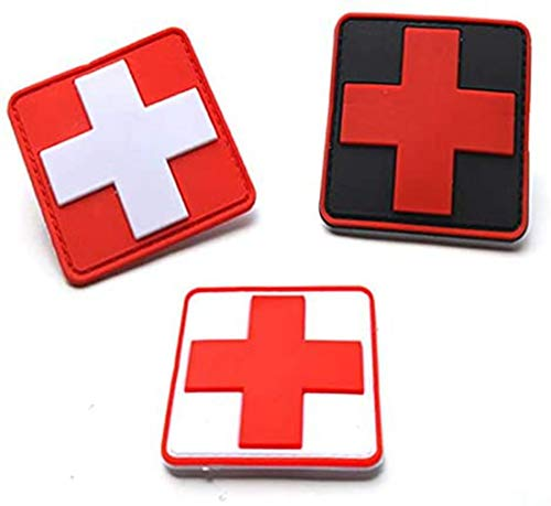 Hannah Fit Bundle 3 Pieces - Reflective Medic Patches, Tactical Medical Patches, Hook-Fastener Backing,2x2 inch (PVC-MIX-04)