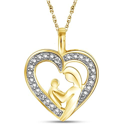 JEWELEXCESS 14K Gold over Silver Heart Necklace with White Diamond Accents | Jewelry Pendant Necklaces for Women with White Diamond Accents & 18 inch Rope Chain with Spring Clasp