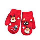 Christmas Gloves Toddlers Girls Boys Gloves 1 Pair Winter Kids Warm Knitting Gloves Knit Magic Mittens (Red,...