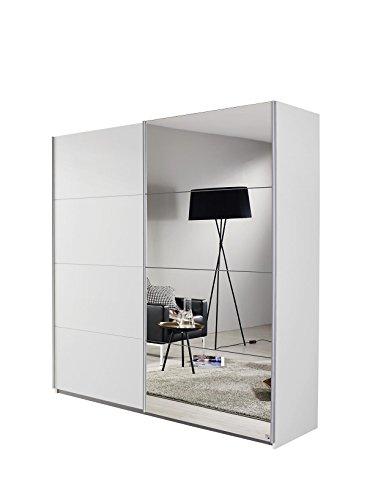Rauch Möbel Subito Schrank Kleiderschrank Schwebetürenschrank in Weiß mit Spiegel 2-türig inkl. Zubehörpaket Basic 2 Kleiderstangen, 2 Einlegeböden BxHxT 136x197x61 cm