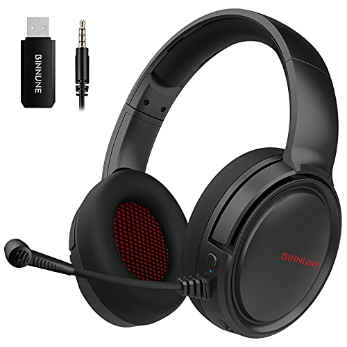 BINNUNE Gaming Headset Wireless mit Mikrofon für PS4 PC PS5 Playstation, 48 Stunden Akkulaufzeit,Bluetooth Kopfhörer Kabellos Gamer