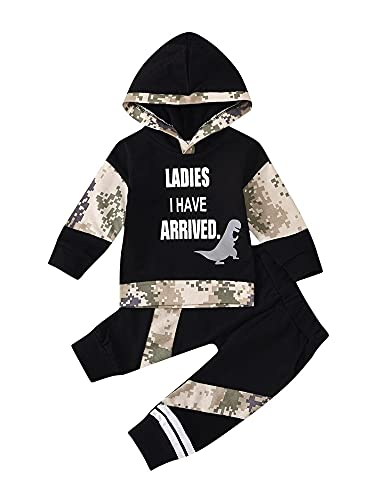Huyghdfb 2 PCS Infant Camouflage Outfits Toddler Dinosaur & Letter Print Long Sleeve Hooded Sweatshirt + Trousers with Pockets (Black, 2-3T)