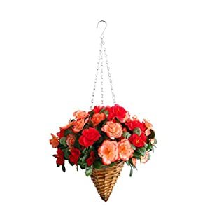 19.7″ Silk Flower Azalea Flowerpot Hanging Wicker Cone Basket Artificial Flowers Rhododendron Champagne and Red