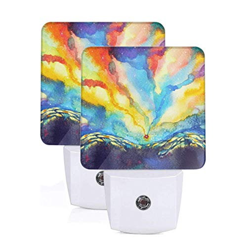 2 Pack Night Lights Indoor Abstract Mountain Sky Aquarelle Peinture Couleur Co Auto Dusk-to-Dawn Sensor Lamp Night Light Automatic For Hallway Bedroom Stairways Corridor Home Decor