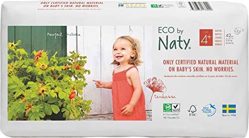 Eco by Naty, Größe 4+, 84 Windeln, 9–20kg, pflanzliche Premium-Bio‑Windeln mit 0% Plastik auf der Haut