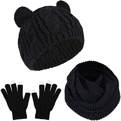WILLBOND 3 Stücke Winter Warme Satz Katze Ohr Mütze Hut Nackenwärmer Schal Touchscreen Handschuhe