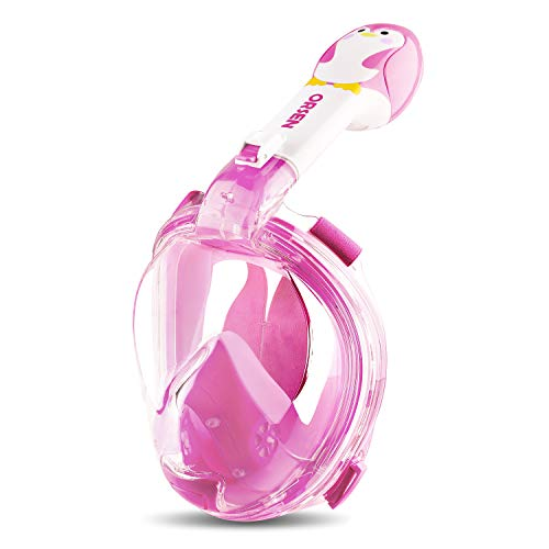 ORSEN Tauchmaske Vollgesichtsmaske für Kinder, Faltbare Schnorchelmaske Vollmaske mit 180° Sicht und Action Kamera-Halterung, Müheloses Atmen, Kein Beschlagen