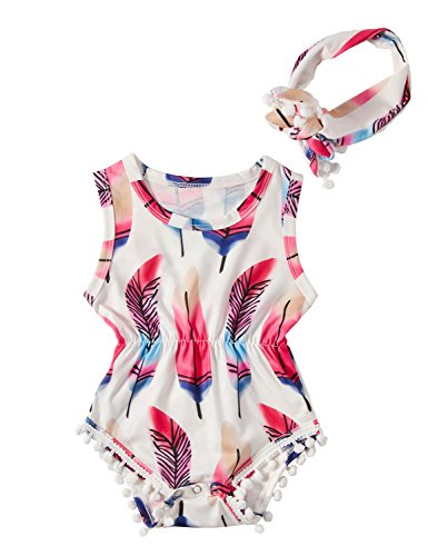 chicolife Lindo Azul Pluma impresión pompón Mameluco recién Nacido bebé niña Trajes San Patricio día Traje para 12-18 Meses niña