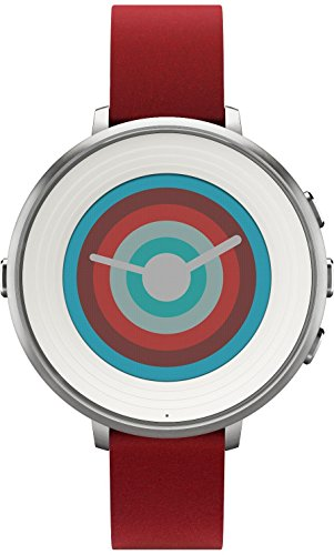 Pebble Technology Corp Smartwatch for iPhone Android Smartphone - Silver red