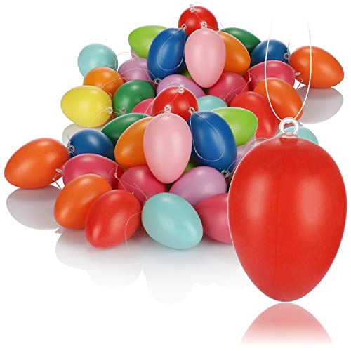 com-four® 48x Huevos de Pascua para Colgar - Decoración de Pascua Decoración de Pascua - tamaño: 6 cm [la selección varía]
