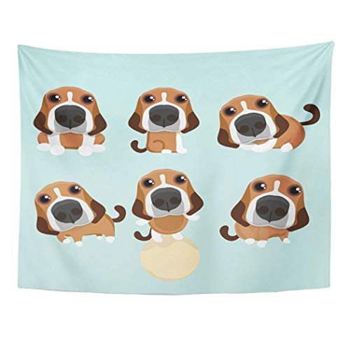 ShiHaiYunBai Wandteppiche, Tapestry Wall Hanging Puppy The Various Operations of Cute Beagle Action Animal Art 60