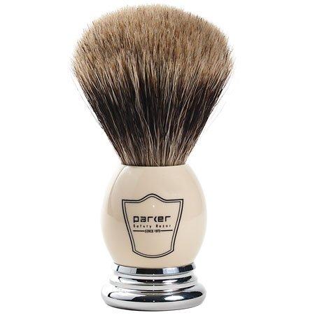 Parker Safety Razor 100% Extra Dense Meilleur blaireau Soies Blaireau avec poignée et blanc Chrome - Brosse gratuit Support fourni Blanc/Chrome