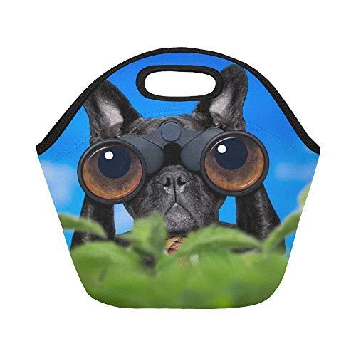 Neopreno aislado Bolsa de almuerzo Bulldog francés Prismáticos para perros Buscando Gran tamaño reutilizable Bolsas de asas gruesas térmicas para almuerzos para el aire