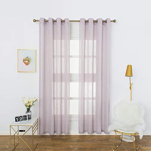 Aquazolax Semi Sheer Curtains for Living Room Soft Linen Voile Window Curtains Grommet Top for Patio Door, 2 Panels, 52 x 84 Inch Long, Purple
