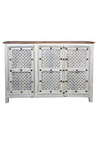Cómoda oriental Hayat de 150 cm, color blanco y marrón, estilo oriental, vintage, adornada a mano, estilo rústico indio, de madera, muebles asiáticos de la India