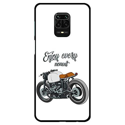 BJJ SHOP Schwarz Hülle für [ Xiaomi Redmi Note 9s / Xiaomi Redmi Note 9 Pro ], Klar Flexible Silikonhülle, Design: Motorrad Klassiker Caferacer, Enjoy Every Moment