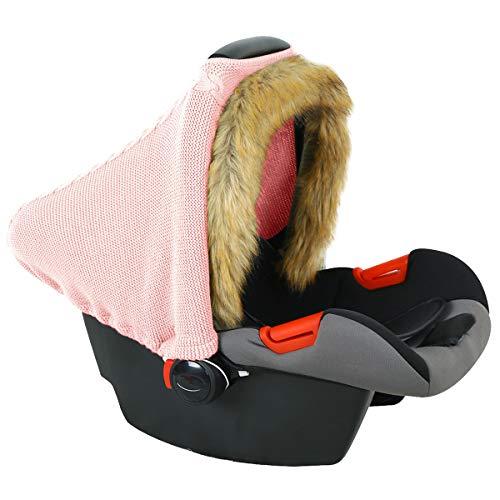Yinuoday Babyautositz Winterbezug Gestrickt Dehnbarer Kinderwagenbezug Babyautositz Baldachin mit Kunstpelz Saum für Jungen Mädchen Indoor Outdoor Pink