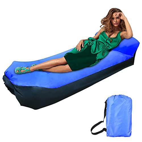 Sofa Hinchable, impermeable sofá de aire tumbona portátil de aire, sofá de aire con bolsa de transporte Portátil Impermeable Ligero cama camping para Viajes, Piscina, Camping, Parque, Playa(azul)