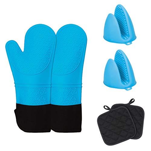 WDFVGEE Guantes de silicona para horno resistentes al calor con manoplas de horno, 1 par y 1 par de soportes para ollas, calientan tus manos en invierno para calentarte.