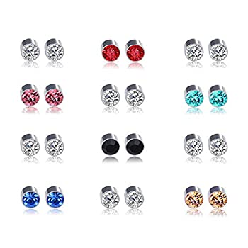 Multi Color 6mm CZ Stone Stainless Steel Magnetic Earrings 12 Pairs