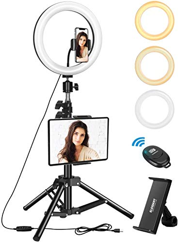 "ELEGIANT Anillo de Luz Trípode LED 10.2"", Aro de Luz con Trípode Soporte 1.34 m para Tableta/Móvil con Control Remoto Bluetooth, 3 Modos Luz + 10 Niveles Brillo para Tiktok Live Selfie Volg Youtube"