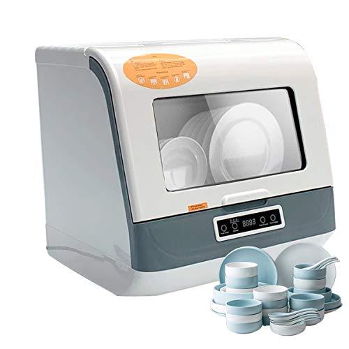 TABODD Lavavajillas portátil de 800 W, 4 modos de lavado, mini lavavajillas de mesa con manguera de entrada/salida, ahorro de energía para cocina en casa
