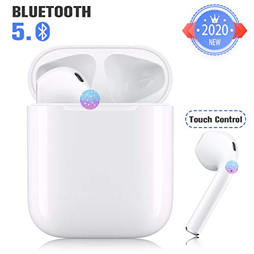 Wireless Earbuds Bluetooth 5.0 Headset Bluetooth Headphones with 24Hrs Charging Case,IPX5 Waterproof Earbuds Built-in Mic Single/Twin Mode,3D Stereo Earphones,Suitable for Airpods/iOS/Android/Samsung