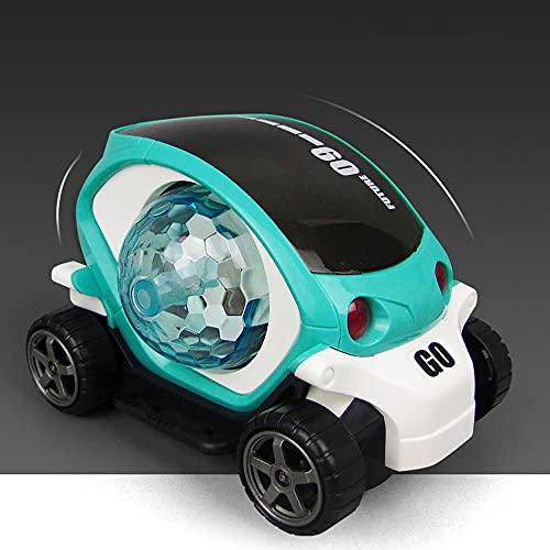 ZDYHBFE Coche eléctrico de Dibujos Animados 3D Light Music Car Boy Girl Coche de Juguete Universal Driving Regalos para niños de 3 a 6 años Regalo del día de los niños Coche Spin Stunt Car