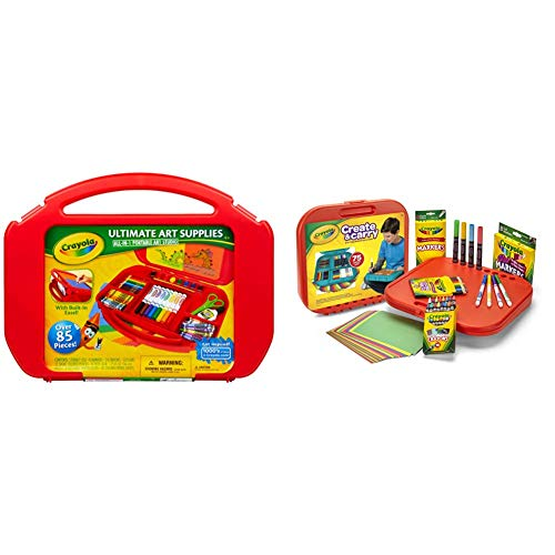 Crayola Ultimate Art Case With Easel, 85 Pieces, Gift For Kids & Create 'N Carry Art Set, 75 Pieces, Art Gift for Kids, Ages 5 & Up